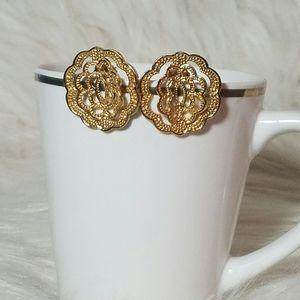 3 for$15 Gold Tone Filigree Flower Stud Earrings